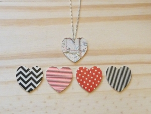 Patterned Wood Heart Pendant £8.50